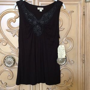 One World beaded tank top NWT size L